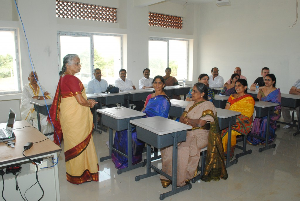 Dr Manga Devi imparts her wisdom to members of HEAL India and HEAL UK in a new classroom at Paradise