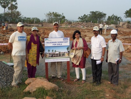 Hans visitors at the site of the Rajeswari Dorm for Girls