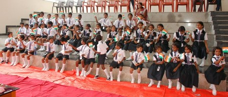 The first children in their smart new uniforms at HEAL Paradise