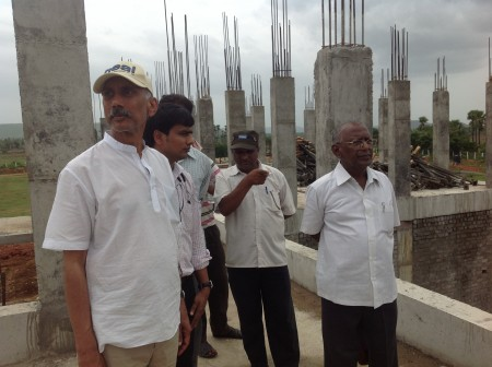 Dr Prasad inspecting ongoing construction work at Paradise Village