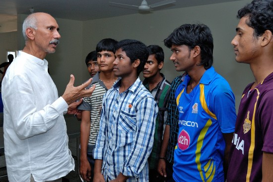 The Paradise-based college boys receive some words of wisdom from HEAL founder Dr Satya Prasad Koneru